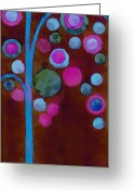 Neon Art Greeting Cards - Bubble Tree - w02d Greeting Card by Variance Collections