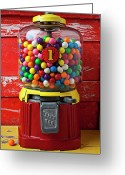Childhood Photo Greeting Cards - Bubblegum machine and gum Greeting Card by Garry Gay