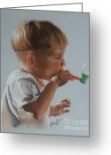 Fun Pastels Greeting Cards - Bubbles Greeting Card by Blanche Guernsey