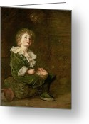 Nineteenth Greeting Cards - Bubbles Greeting Card by Sir John Everett Millais