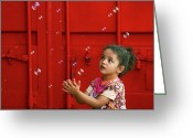 Expressive Photo Greeting Cards - Bubbling Girl Greeting Card by Aimelle