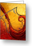 Rust Greeting Cards - BUBBLING JOY Original MADART Painting Greeting Card by Megan Duncanson