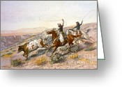 Open Range Greeting Cards - Buccaroos Greeting Card by Pg Reproductions
