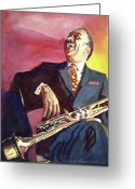 Big Band Greeting Cards - Buck Clayton Jazz Trumpet Greeting Card by David Lloyd Glover