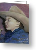 Little Boy Pastels Greeting Cards - Buckaroo Greeting Card by Barbara Sutton