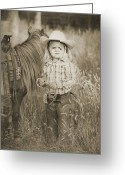 Cowboy Greeting Cards - Buckaroo Cowgirl and Horse Greeting Card by Cindy Singleton