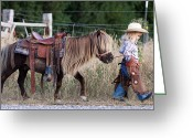 Idaho Artist Greeting Cards - Buckaroo Cowgirl Greeting Card by Cindy Singleton