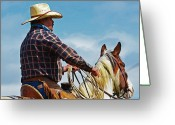 Horse Pyrography Greeting Cards - Buckaroo riding into blue Greeting Card by Susie Fisher