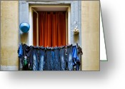 Curtain Greeting Cards - Bucket - Garlic and Jeans Greeting Card by David Bowman