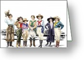 Rodeo Greeting Cards - Buckin Horse Suffragettes Greeting Card by Shirley Morris