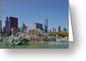 Chicago Landmarks Greeting Cards - Buckingham Fountain Chicago Greeting Card by Christine Till