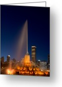 Warm Greeting Cards - Buckingham Fountain Chicago Greeting Card by Steve Gadomski