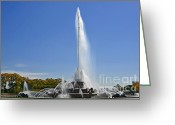 Landmarks Of Usa Greeting Cards - Buckingham Fountain - Chicagos Iconic landmark Greeting Card by Christine Till