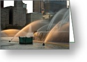 Sunset Light Greeting Cards - Buckingham Fountain Sidelight  Greeting Card by Steve Gadomski