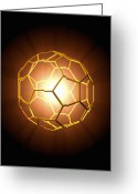 Soot Greeting Cards - Buckminsterfullerene Molecule Greeting Card by Roger Harris