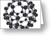 Molecule Greeting Cards - Buckminsterfullerene or Buckyball C60 18 Greeting Card by Russell Kightley