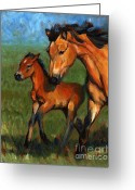 Buckskin Horse Greeting Cards - Buckskin and Baby Greeting Card by Pat Burns