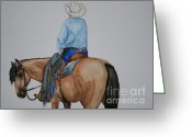 Western Clothing Greeting Cards - Buckskin Blues Greeting Card by Susan Herber