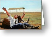Great Painting Greeting Cards - Bucky Gets the Bull Greeting Card by Tom Roderick