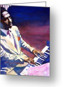 Players Greeting Cards - Bud Powell Piano Bebop Jazz Greeting Card by David Lloyd Glover