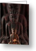 Far East Greeting Cards - Buddah with Lotus Flower Greeting Card by Judi Quelland