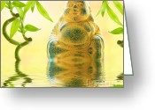 Buddha Art Greeting Cards - Buddha and Bamboo Greeting Card by Kristin Kreet