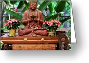 Sacred Photo Greeting Cards - Buddha Enlightenment - The Sacred Garden Greeting Card by Karon Melillo DeVega