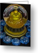 Photo-realism Greeting Cards - Buddha Globe with Blue Glass Greeting Card by Tony Chimento