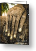 Thailand Digital Art Greeting Cards - Buddha Hand Greeting Card by Adrian Evans