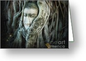 Head (dark Buddha) Greeting Cards - Buddha Head Greeting Card by Eena Bo