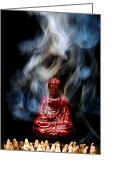 Meditative Greeting Cards - Buddha in Smoke Greeting Card by Olivier Le Queinec