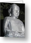 Metallic Greeting Cards - Buddha in solid silver - Jinan Temple Shanghai Greeting Card by Christine Till - CT-Graphics