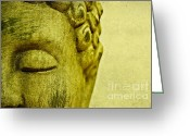 Buddha Art Greeting Cards - Buddha Greeting Card by Kristin Kreet