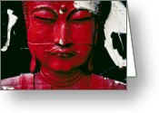 Philosophy Greeting Cards - Buddha Red Greeting Card by Skip Hunt