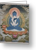 Thanka Greeting Cards - Buddha Shakti Thangka Greeting Card by Tag