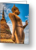 Temple Digital Art Greeting Cards - Buddha Statue Greeting Card by Adrian Evans