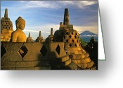 Borobudur Greeting Cards - Buddha Statue and Stupas at Borobudur Temple Greeting Card by Petr Svarc