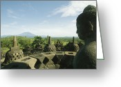 Borobudur Greeting Cards - Buddha Statue At The Borobudur Stupa Greeting Card by Martin Gray