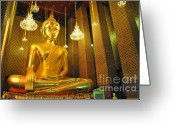 Light Sculpture Greeting Cards - Buddha statue Greeting Card by Somchai Suppalertporn