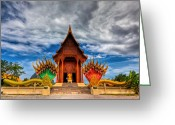 Temple Digital Art Greeting Cards - Buddha Temple Greeting Card by Adrian Evans