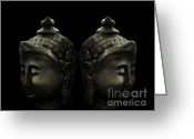 Sacred Photo Greeting Cards - Buddha Twins Greeting Card by Cheryl Young