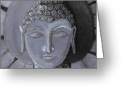 Religious Art Painting Greeting Cards - Buddha With a Stone Lotus Greeting Card by Nicole Werth