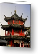 Shanghai China Greeting Cards - Buddhist Pagoda - Shanghai China Greeting Card by Christine Till - CT-Graphics