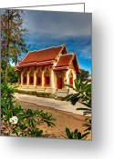 Khao Greeting Cards - Buddhist Temple Greeting Card by Adrian Evans