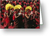 Headgear Greeting Cards - Buddist Monks At Nechung Monastery Greeting Card by Maria Stenzel