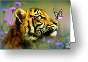 Tiger Tapestries Textiles Greeting Cards - Buddy and the Butterfly Greeting Card by Trudi Simmonds