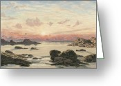 Sunset Scenes. Painting Greeting Cards - Bude Sands at Sunset Greeting Card by John Brett