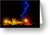 Lightning Bolt Pictures Greeting Cards - Budweiser Lightning Strike Greeting Card by James Bo Insogna