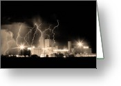 Unusual Lightning Greeting Cards - Budweiser Lightning Thunderstorm Moving Out BW Sepia Crop Greeting Card by James Bo Insogna