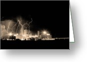 Unusual Lightning Greeting Cards - Budweiser Lightning Thunderstorm Moving Out BW Sepia Greeting Card by James Bo Insogna